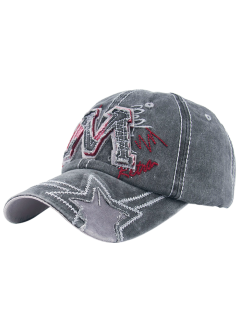 Frayed Letter M And Star Baseball Hat - Black Grey