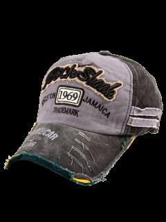 1969 Broderie Effilochée Bord Baseball Hat - Noir