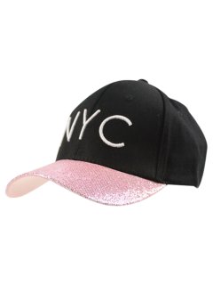NYC Embroidery Sequined Brim Baseball Hat - Pink