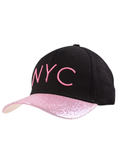 NYC Embroidery Sequined Brim Baseball Hat - Black And Pink