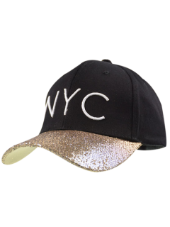 NYC Embroidery Sequined Brim Baseball Hat - Black
