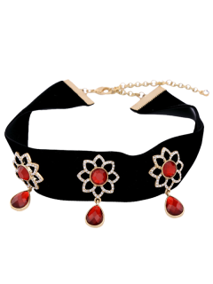 Faux Ruby Sunflower Teardrop Necklace Choker - Rouge