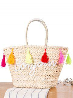 Bonjour Tassels Straw Shoulder Bag - Off-white