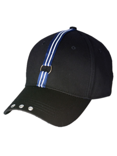 Stripe Ribbon Metal Circle Rivet Baseball Cap - Black