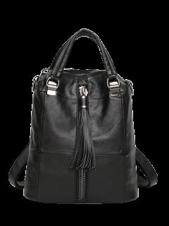 Faux Leather Tassel Backpack - Black
