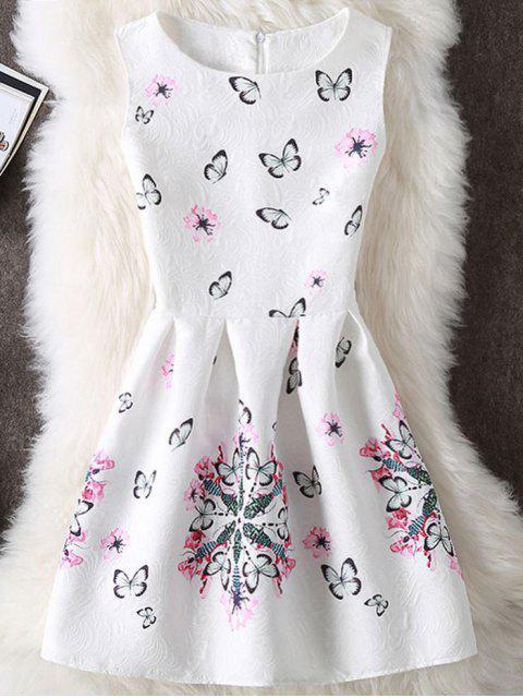 Schmetterling und Blumen Druck Ärmelloses Minikleid - Weiß XL Mobile