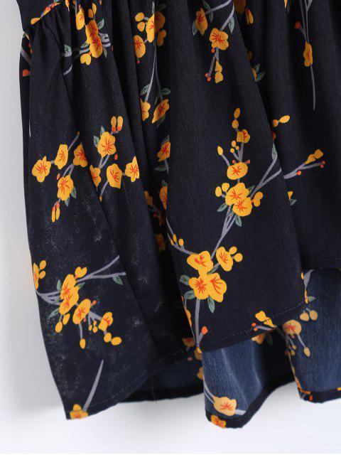 sale Ruffle Hem Floral Slip Dress - PURPLISH BLUE ONE SIZE Mobile