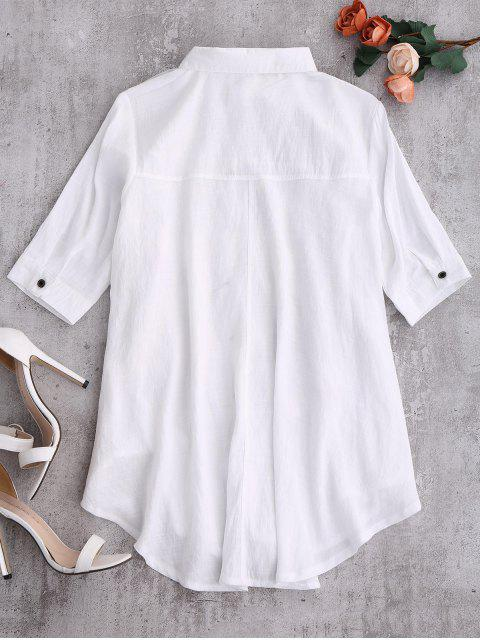 womens Layered Floral Oversized Blouse - WHITE S Mobile