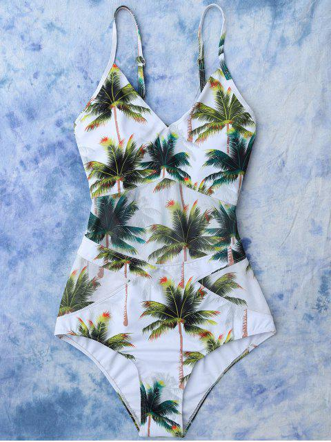 fancy Coconut Palm Tree Print Swimsuit - WHITE S Mobile