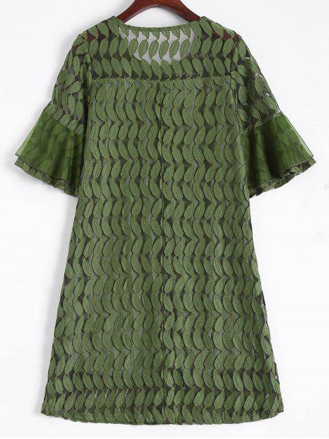 shop Sheer Lace Flare Sleeve Dress - ARMY GREEN L Mobile