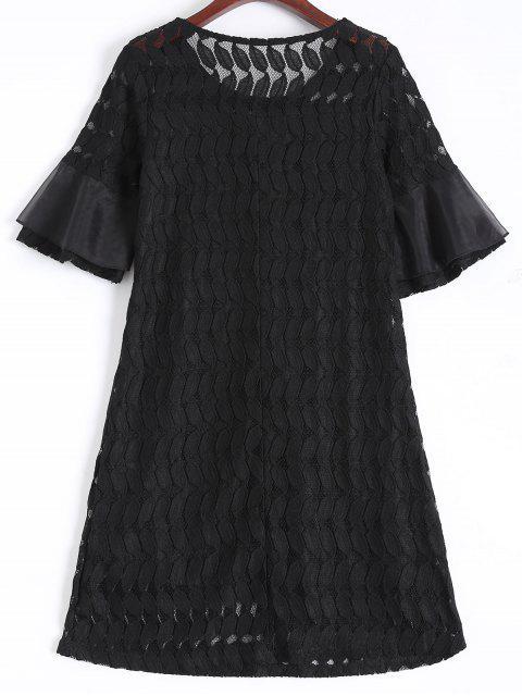 online Sheer Lace Flare Sleeve Dress - BLACK L Mobile