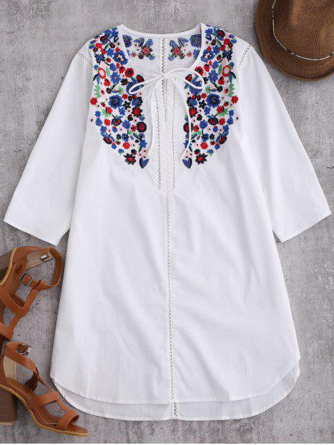 buy Emroidered Tie Front Tunic Dress - WHITE S Mobile