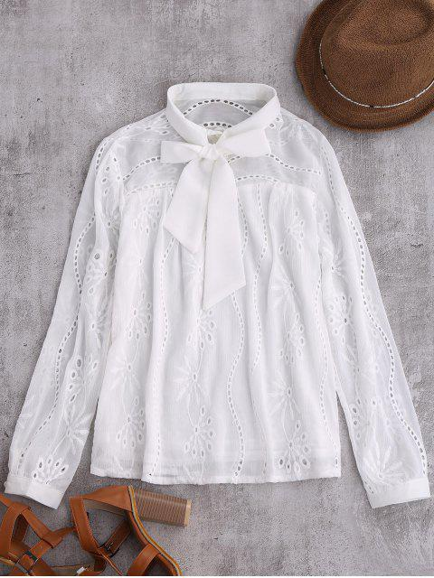 shop Pussy Bow Tie Hollow Out Chiffon Blouse - WHITE M Mobile