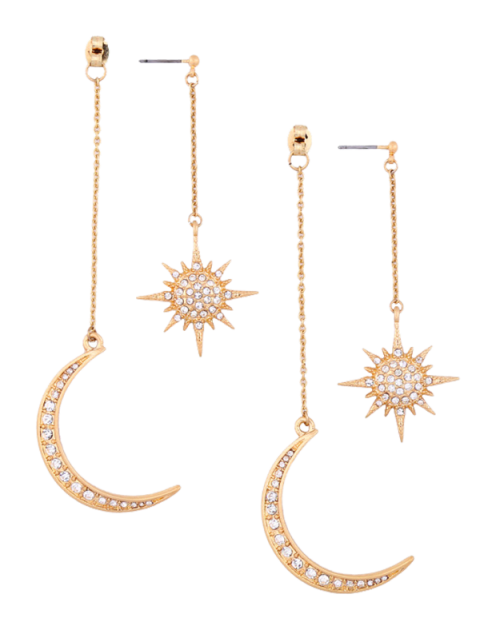 buy Rhinestoned Moon Sun Earrings - GOLDEN  Mobile