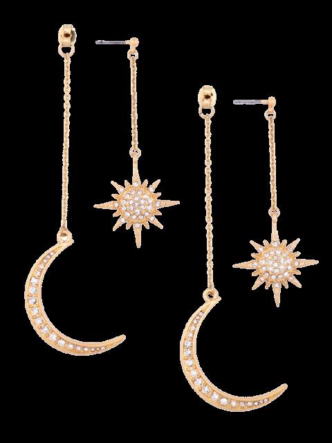 Rhinestoned Mond Sonne Ohrringe - Golden  Mobile