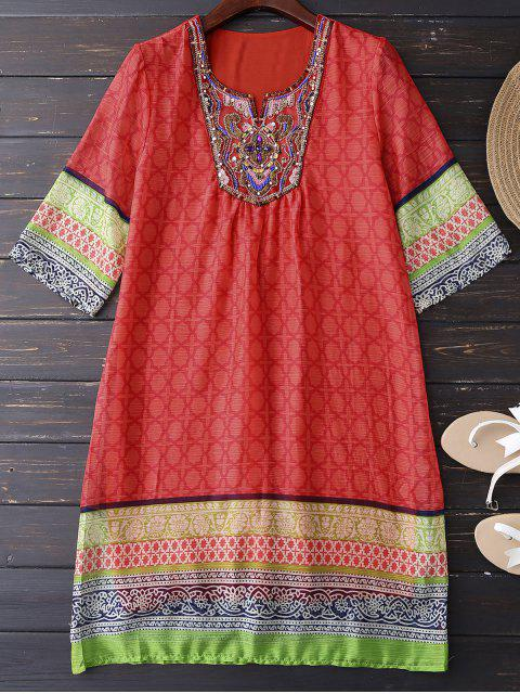 best Ethnic Embellished Print Shift Dress - JACINTH XL Mobile