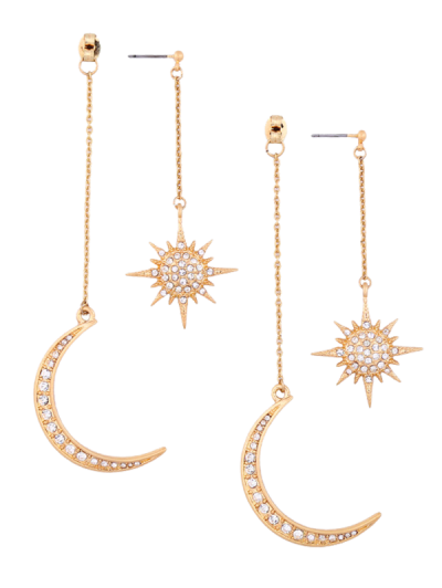 Rhinestoned Moon Sun Earrings Golden