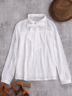 Pussy Bow Tie Hollow Out Chiffon Blouse - White Xl