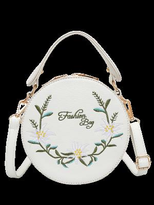 Sac En Bandoulière Avec Broderie Florale - Blanc