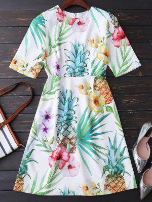 Impresión Floral Que Fluye Vestido - M