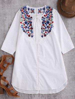 Emroidered Tie Avant Robe Tunique - Blanc S