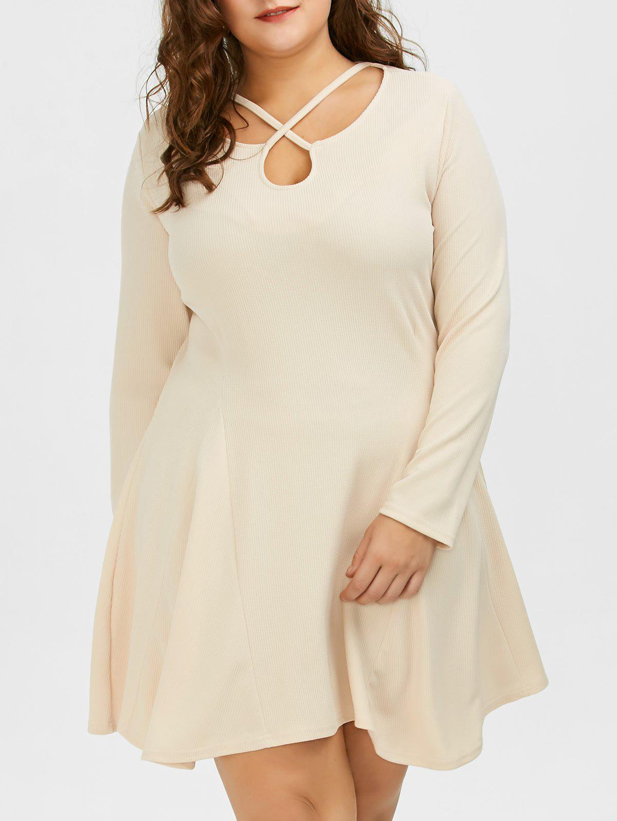 Cutout Plus Size Skater Dress with Long Sleeves