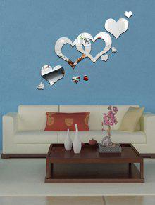 الاكريليك الجوف القلب القابل للإزالة مرآة جدار الفن ملصق - فضة