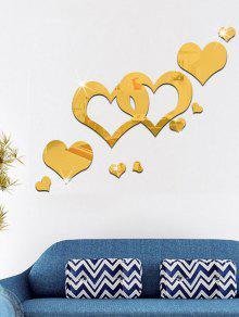 الاكريليك الجوف خارج القلب مرآة الجدار ملصق - ذهبي