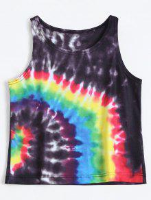 Colorful Tie Dye Tank Top - Black M