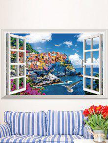 3d فوكس نافذة الفينيل القابل للإزالة الجدار ملصق - محيط أزرق 60*90cm