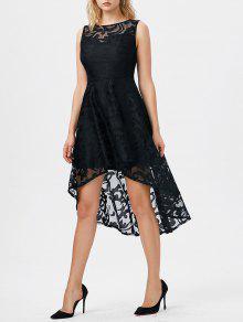 فستان بلا أكمام عالية انخفاض دانتيل - أسود Xl