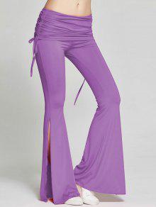 Pantalones De Hendidura Altos Flama Deportes - Púrpura Xl