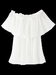 Pleated Layered Off The Shoulder Top - White M