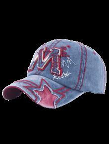 Effilochée Lettre M Et Star Baseball Hat - Bleu Clair