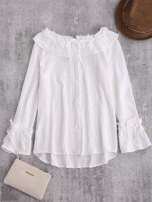 Chaîne Dentelle Volantée Linen Shirt - Blanc S
