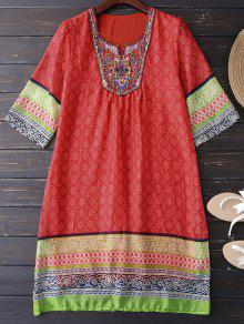 Ethnic Embellished Print Shift Dress - Jacinth M