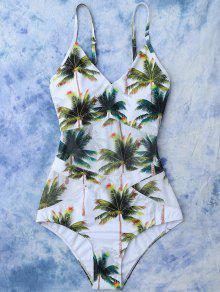 Maillot De Bain Imprimé Tropical Palmier Cocotier - Blanc Xl