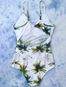 84a5ec9a482ba 10% OFF  2019 Coconut Palm Tree Print Swimsuit In WHITE
