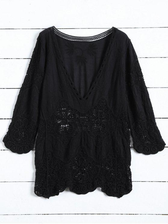women Plunging Neck Hollow Out Blouse - BLACK ONE SIZE