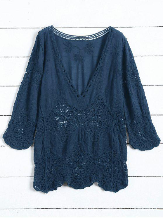 women's Plunging Neck Hollow Out Blouse - CADETBLUE ONE SIZE