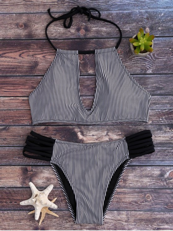 outfit Stripe Keyhole Halter Bathing Suit - WHITE AND BLACK S