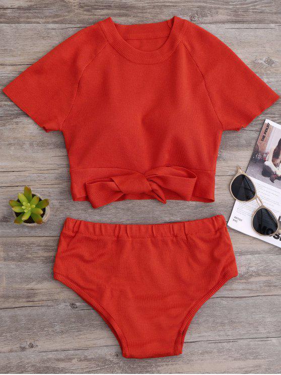Haut court et bas de bikini tricotés - Tangerine TAILLE MOYENNE