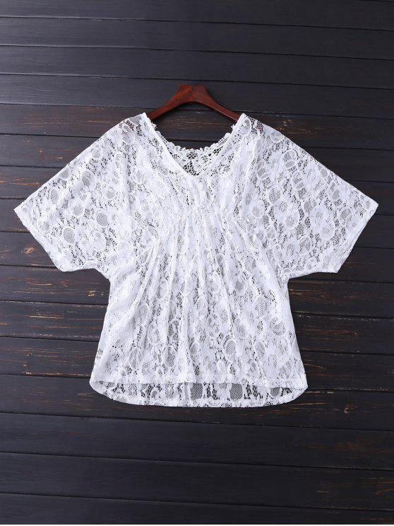 shops V Neck Lace Cover Up - WHITE ONE SIZE