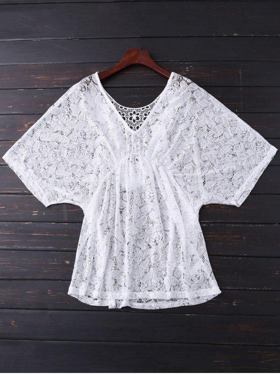 Batwing Lace Cover Up - Blanc Taille Unique