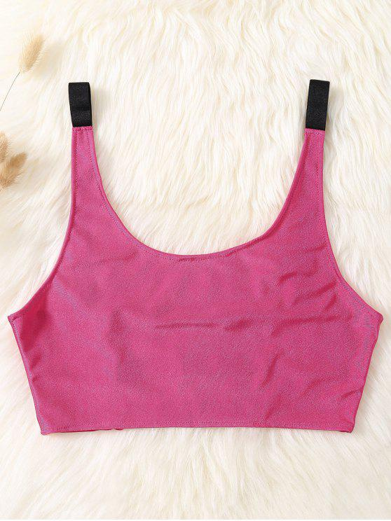 chic Unlined Laddering Sports Bra - ROSE RED ONE SIZE