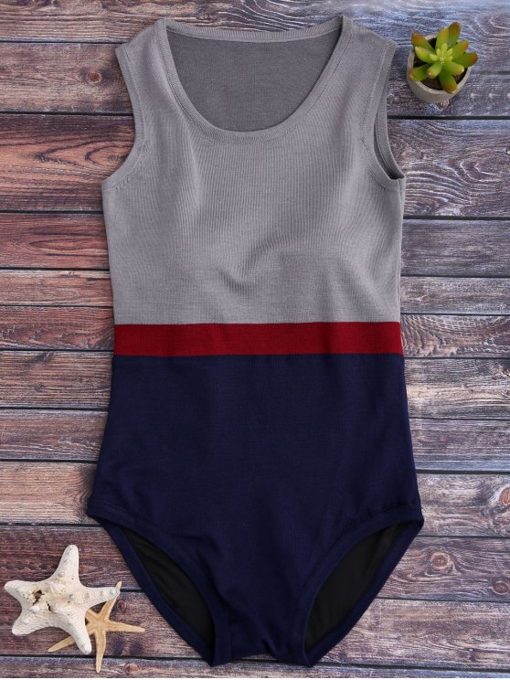 ladies Tricolor Padded Knit One Piece Swimsuit - GREY AND BLUE ONE SIZE