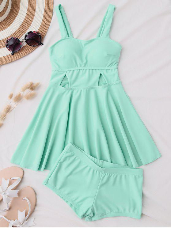 new Cut Out Skirted Tankini Top and Shorts - BLUE GREEN M