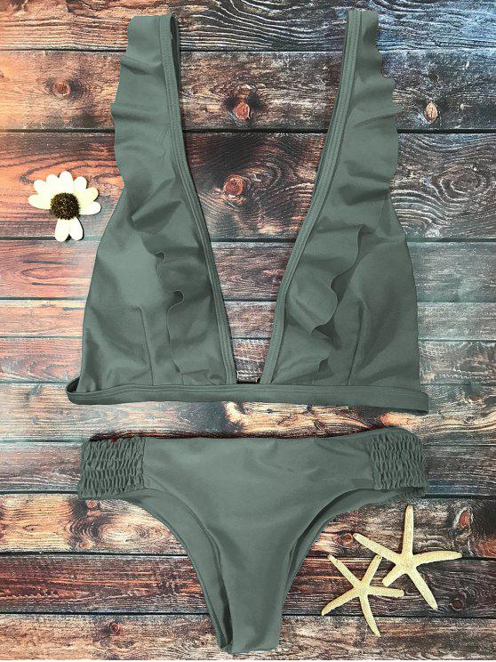 women Ruffles Plunge Bathing Suit - ARMY GREEN M