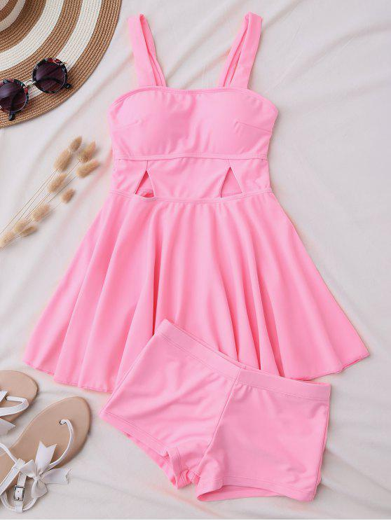 best Cut Out Skirted Tankini Top and Shorts - PINK L