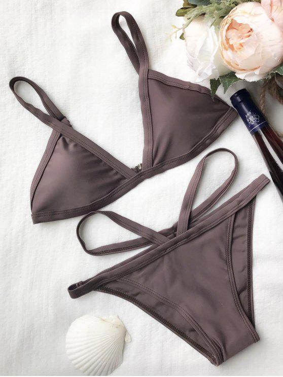 fancy Padded V Strap Thong Bikini Set - COFFEE M